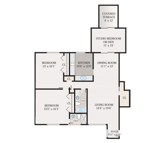2 Bedroom 2 Bathroom with Den. 1465 sq. ft.